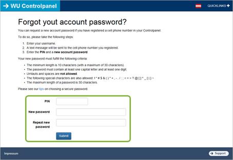 Wirtschaftsuniversität Wien: Resetting Your Password - Account