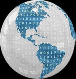 globe with binary code